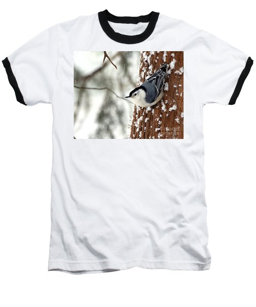Baseball T-Shirt featuring the photograph Nuthatch In Snow Storm by Paula Guttilla