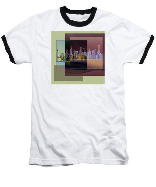 Nyc Abstract-3 Baseball T-Shirt by Nina Bradica