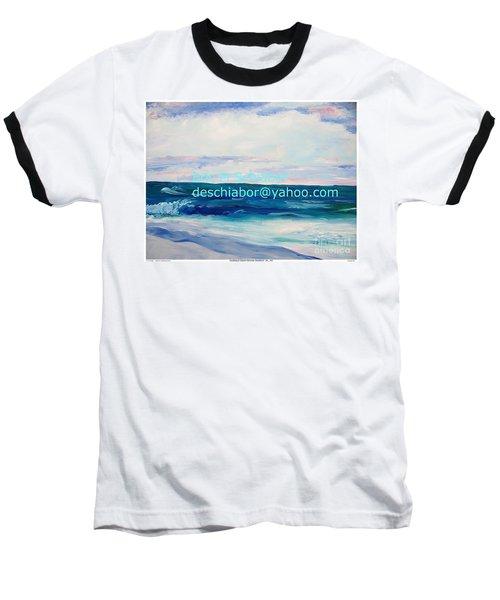 Baseball T-Shirt featuring the painting Ocean Assateague Virginia by Eric  Schiabor