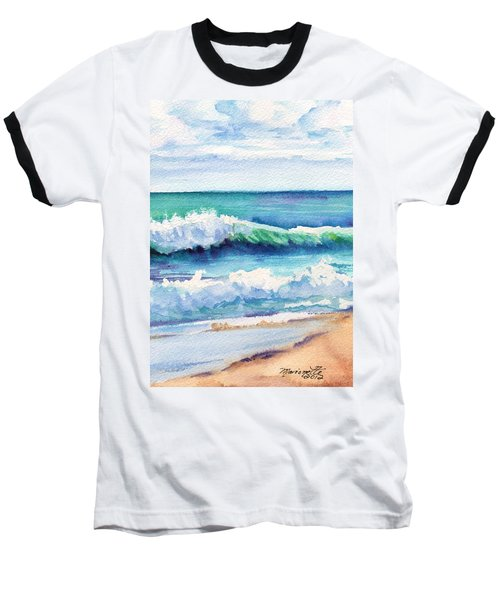 Baseball T-Shirt featuring the painting Ocean Waves Of Kauai I by Marionette Taboniar