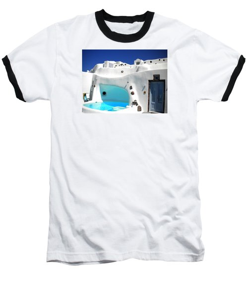Oia Santorini  With Direct View To The Oceon Greece Baseball T-Shirt by Colette V Hera  Guggenheim