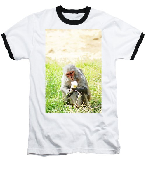 Oil Painting - A Monkey Eating An Ice Cream Baseball T-Shirt