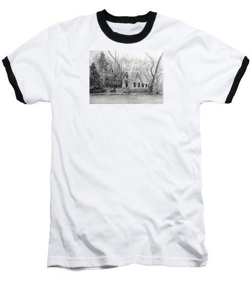 Old Library On Lake Afton - Winter Baseball T-Shirt by Loretta Luglio