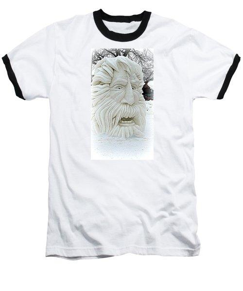 Old Man Winter Snow Sculpture Baseball T-Shirt