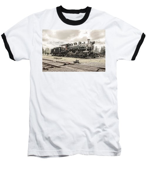Baseball T-Shirt featuring the photograph Old Steam Locomotive No. 97 - Made In America by Gary Heller