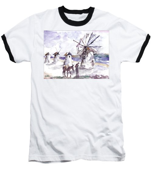 Baseball T-Shirt featuring the painting Old Windmills At Bodrum by Faruk Koksal