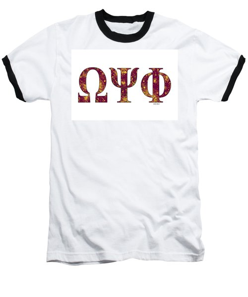 Baseball T-Shirt featuring the digital art Omega Psi Phi - White by Stephen Younts