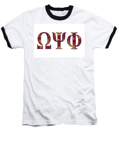 Omega Psi Phi - White Baseball T-Shirt by Stephen Younts