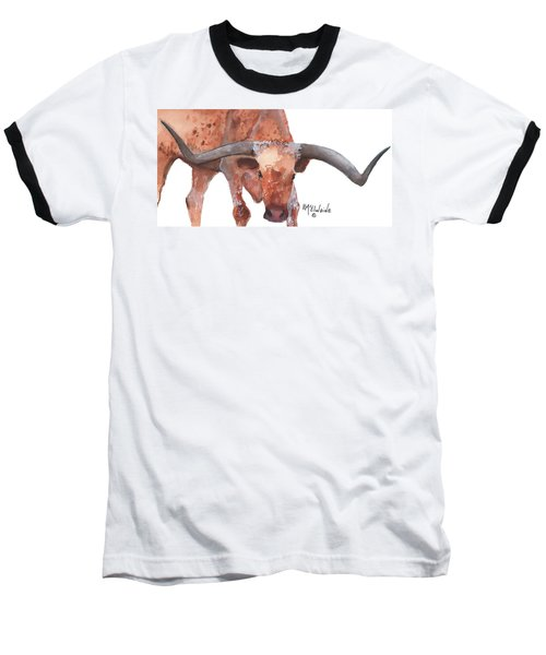 On The Level Texas Longhorn Watercolor Painting By Kmcelwaine Baseball T-Shirt by Kathleen McElwaine