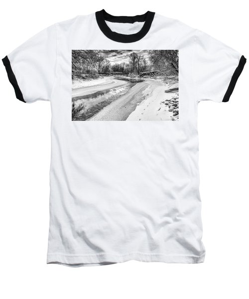 On The Riverbank Bw Baseball T-Shirt