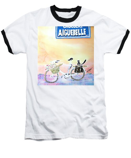 Baseball T-Shirt featuring the painting On The Way by Hisayo Ohta