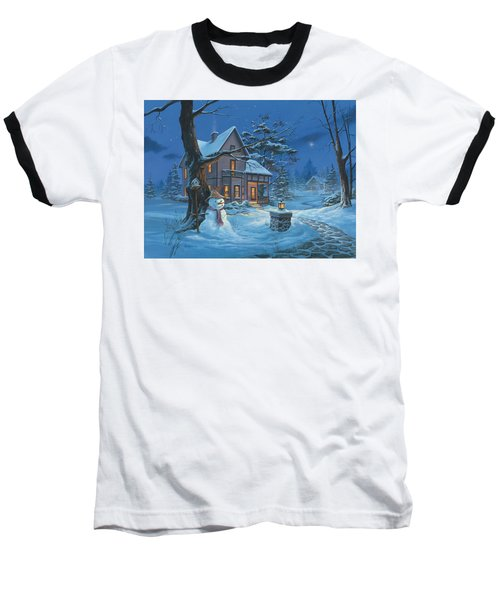 Once Upon A Winter's Night Baseball T-Shirt by Michael Humphries
