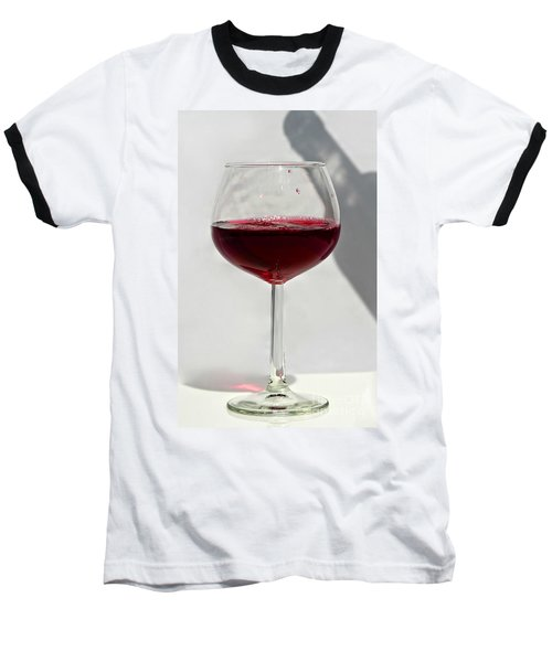 One Glass Of Red Wine With Bottle Shadow Art Prints Baseball T-Shirt by Valerie Garner