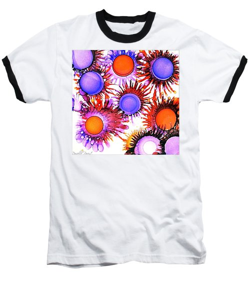 Orange And Purple Alcohol Inks Abstract Baseball T-Shirt