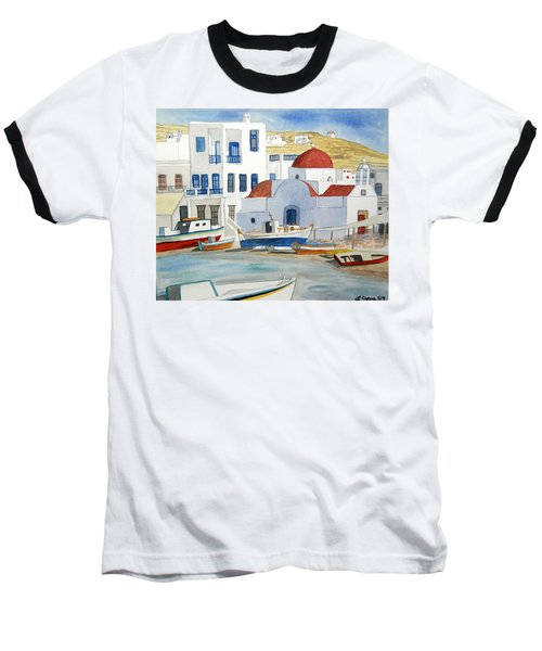 Watercolor - Mykonos Greece Detail Baseball T-Shirt