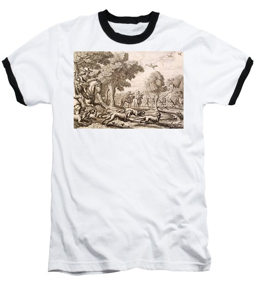 Otter Hunting By A River, Engraved Baseball T-Shirt