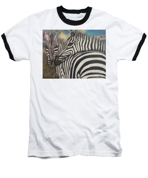Baseball T-Shirt featuring the painting Our Stripes May Be Different But Our Hearts Beat As One by Kimberlee Baxter