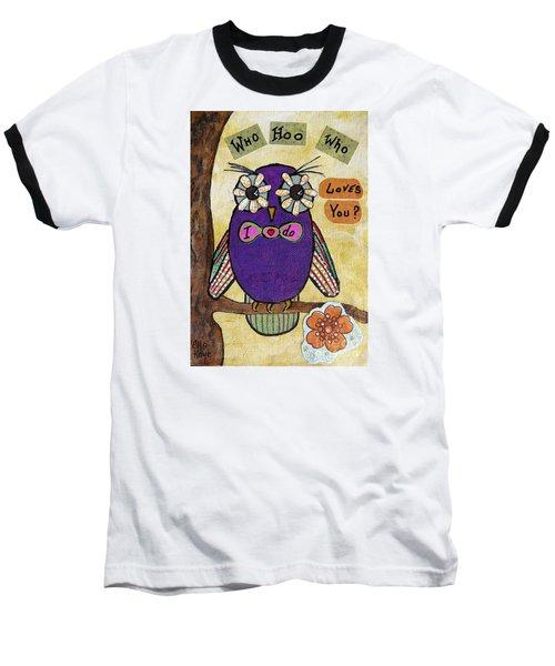 Owl Love Story - Whimsical Collage Baseball T-Shirt