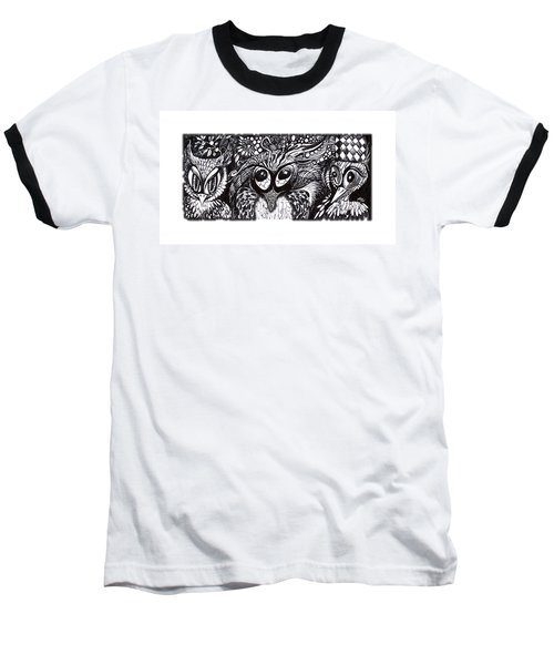 Baseball T-Shirt featuring the drawing Owls Eyes by Adria Trail