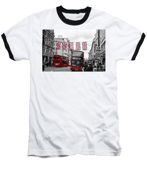 Oxford Street Flags Baseball T-Shirt by Matt Malloy