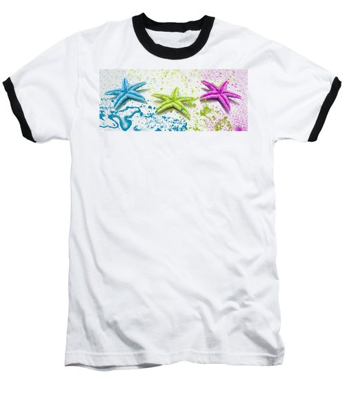 Paint Spattered Star Fish Baseball T-Shirt