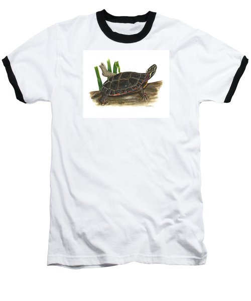 Painted Turtle Baseball T-Shirt by Cindy Hitchcock