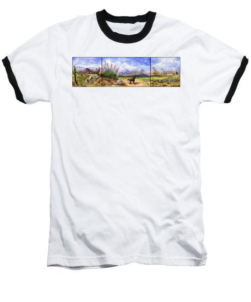Panorama Triptych Don't Fence Me In  Baseball T-Shirt by Marilyn Smith