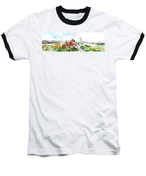 Baseball T-Shirt featuring the painting Panoramic Hagia Sophia In Istanbul by Faruk Koksal