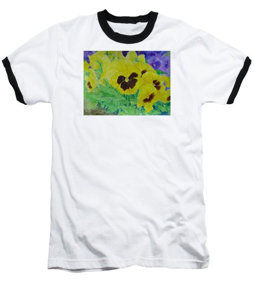 Pansies Colorful Flowers Floral Garden Art Painting Bright Yellow Pansy Original  Baseball T-Shirt by Elizabeth Sawyer