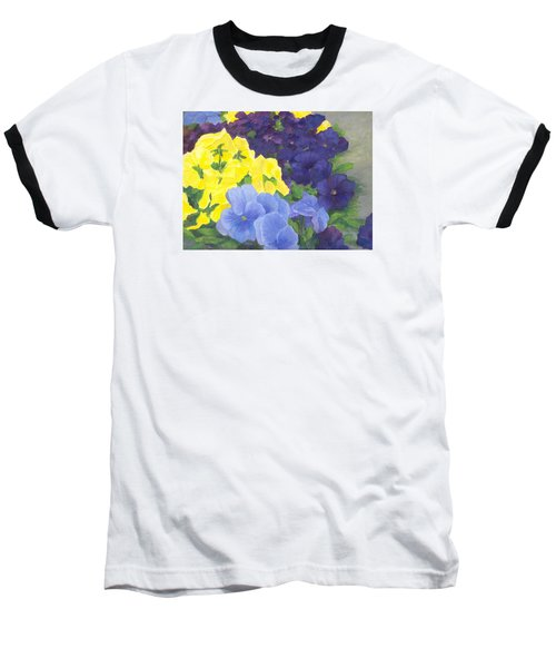 Pansy Garden Bright Colorful Flowers Painting Pansies Floral Art Artist K. Joann Russell Baseball T-Shirt by Elizabeth Sawyer