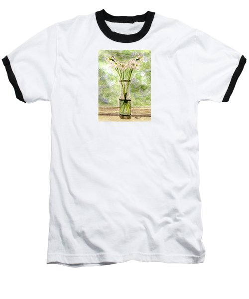 Baseball T-Shirt featuring the painting Paper Whites In Sunlight by Angela Davies