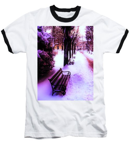 Park Benches In Snow Baseball T-Shirt by Nina Ficur Feenan