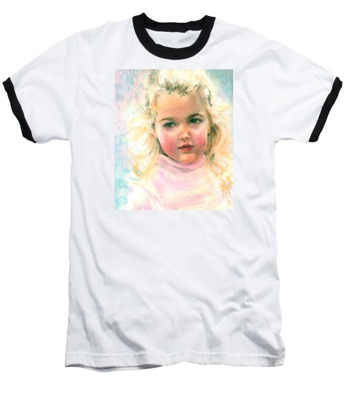 Pastel Portrait Of An Angelic Girl Baseball T-Shirt