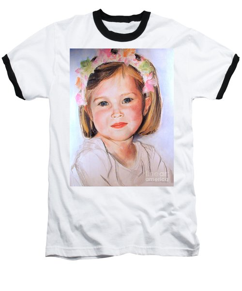 Baseball T-Shirt featuring the painting Pastel Portrait Of Girl With Flowers In Her Hair by Greta Corens
