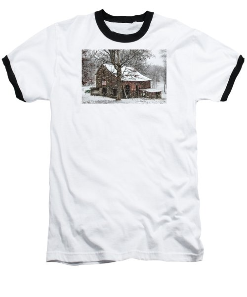 Baseball T-Shirt featuring the photograph Patriotic Tobacco Barn by Debbie Green