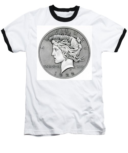 Graphite Peace Dollar Baseball T-Shirt
