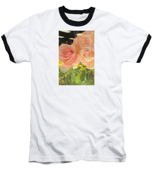 Peach Roses In Greeting Card Baseball T-Shirt
