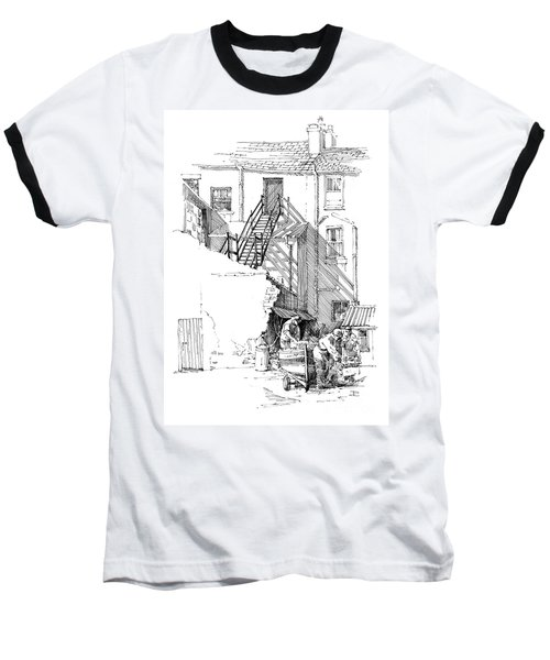 Baseball T-Shirt featuring the drawing Peel Back Street by Paul Davenport