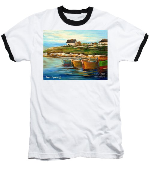 Peggys Cove With Fishing Boats Baseball T-Shirt