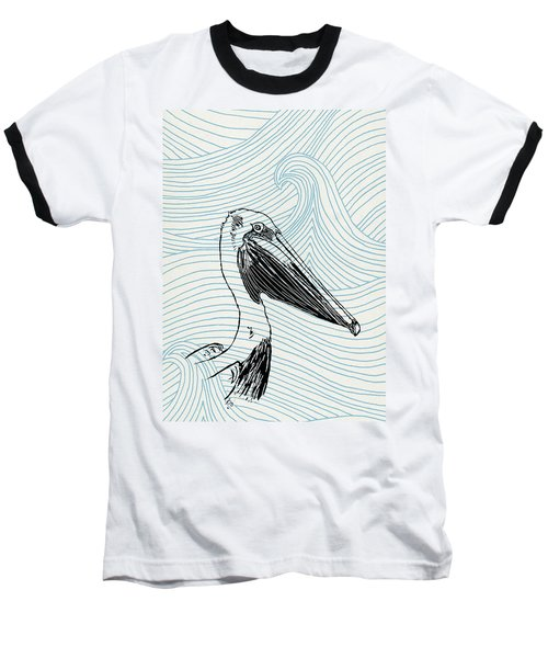 Pelican On Waves Baseball T-Shirt