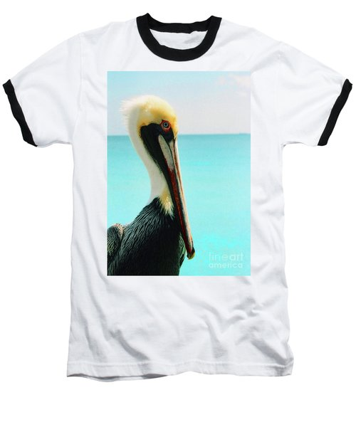 Pelican Profile And Water Baseball T-Shirt