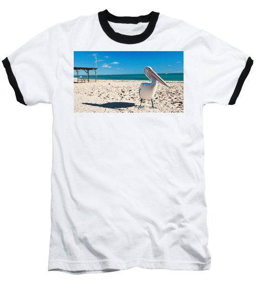 Pelican Under Blue Sky Baseball T-Shirt by Yew Kwang