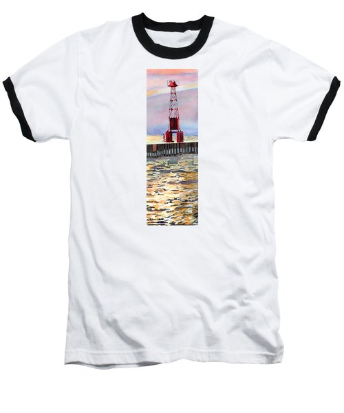 Pentwater South Pier Baseball T-Shirt by LeAnne Sowa
