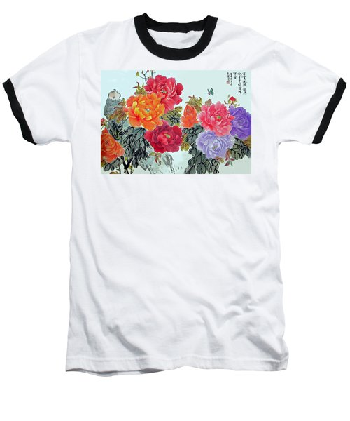Baseball T-Shirt featuring the photograph Peonies And Birds by Yufeng Wang