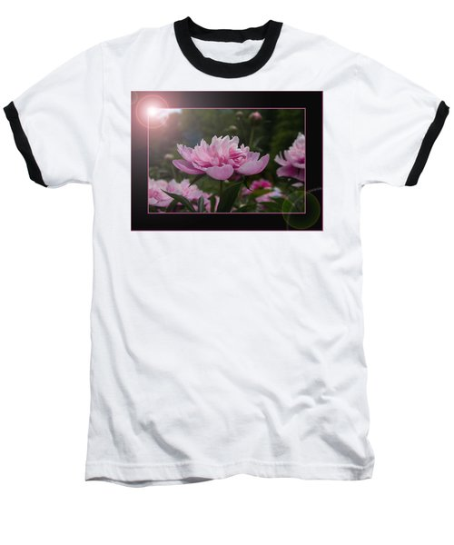 Baseball T-Shirt featuring the photograph Peony Garden Sun Flare by Patti Deters