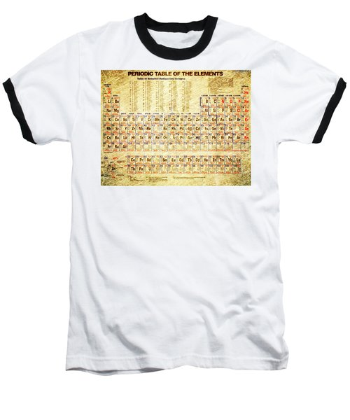 Periodic Table Of The Elements Vintage White Frame Baseball T-Shirt by Eti Reid