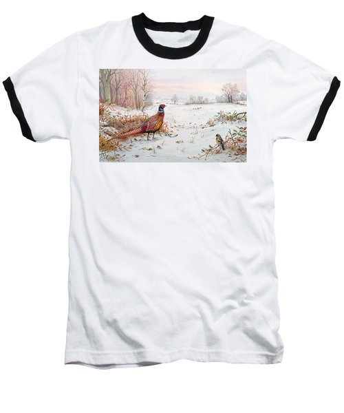 Pheasant And Bramblefinch In The Snow Baseball T-Shirt by Carl Donner