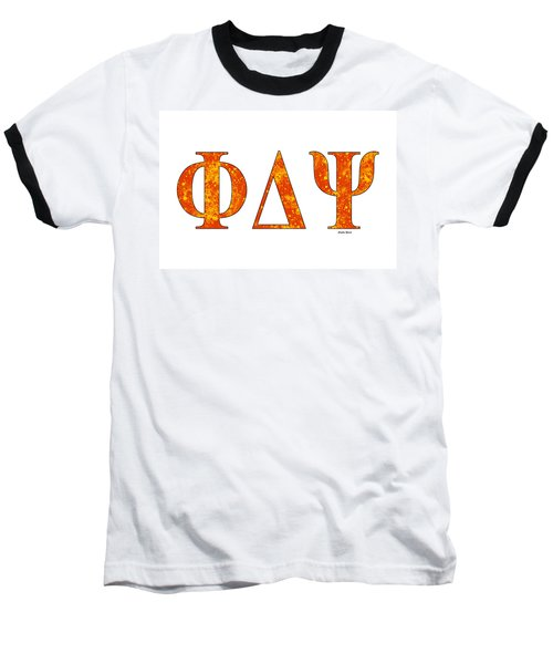 Baseball T-Shirt featuring the digital art Phi Delta Psi - White by Stephen Younts