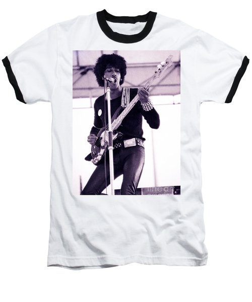 Phil Lynott Of Thin Lizzy Black Rose Star Effect Day On The Green 4th Of July 1979 - Unreleased No 3 Baseball T-Shirt