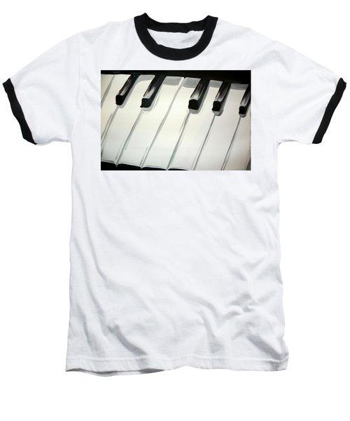Piano Keys Baseball T-Shirt by Marisela Mungia
